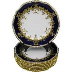 (8) c. 1892 Antique Copeland Spode Cobalt Blue & Gold Encrusted Bone China Plates
