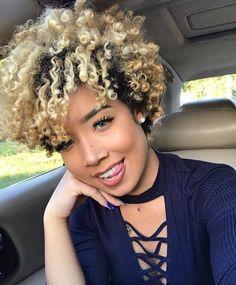 Image may contain: 1 person, smiling, closeup Short Curls, Short Curly Hair, Short Hair Cuts, Curly Hair Styles, Natural Hair Styles, Curly Pixie, Pixie Cut, Tapered Natural Hair, Dyed Natural Hair