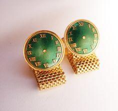 Enamel Vintage Wedding Cufflinks Wrap Mesh by NeatstuffAntiques, $45.00