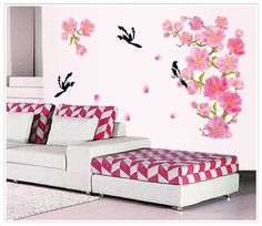 wall decoration stickers -YYone Pink Flowers with Black Birds Removable Wall Decals Sticker Home Decor