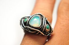 Opal Ring Turquoise Pure Silver Futuristic Geometric #ring #jewellery