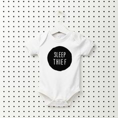 Celebrate the arrival of your favourite little Sleep Thief with this super cute baby grow! The super soft short sleeved one-piece features a 3 popper fastening for easy fitting. The Sleep Thief desi. Gifts For Mum, New Baby Gifts, Unisex Baby Shower, Custom Baby Gifts, Wishes For Baby, Soft Shorts, Baby Bodysuit, Baby Onesie, Baby Grows