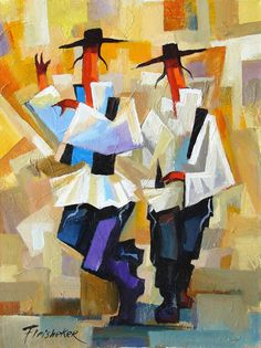 """Chassidic Dancing"" by Fleisheker, a piece featured by the Safrai Fine Art Gallery. Read more: The Jewish Chronicle - Israeli art legacy Jewish Crafts, Jewish Art, Jewish History, Caricatures, Galerie D'art, Naive Art, Fine Art Gallery, Oeuvre D'art, Pop Art"