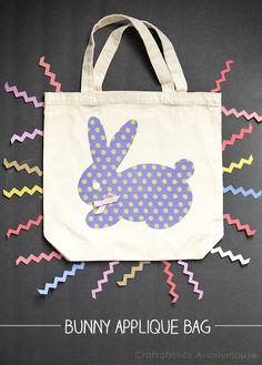 DIY Bunny applique bag tutorial. So cute!