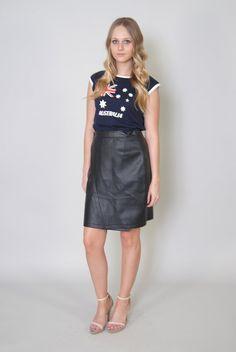 Vintage YSL Skirt 80s Yves Saint Laurent Black Leather Look Pencil Skirt S Mini Skirt
