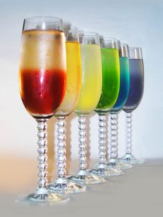 Use your favorite Champagne or Prosecco and add a shot of one of six liqueurs: 1. Framboise (Raspberry) 2. Creole Orange Shrubb (Orange) 3. Limoncello (Lemon) 4. Midori (Melon) 5. Blue Curacao (Citrus) 6. Creme de Violette (Violet)