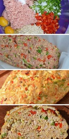 Saftigt og lækkert kyllingefarsbrød med finthakket rød peber og forårsløg. Så er det altså nemt at spise sundt.