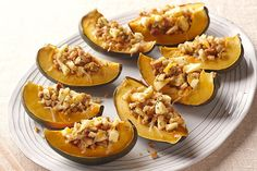 Acorn Squash with Apple Stuffing.Dress up your table with gorgeous acorn squash topped with sweet, cheesy apple stuffing. No one has to know our stellar side is so quick and easy. Kraft Foods, Kraft Recipes, Apple Recipes, Vegetable Recipes, Fall Recipes, Christmas Recipes, Apple Stuffing, Stuffing Recipes, Acorn Squash Recipes