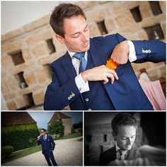 Navy blue grooms suit © Antoine Monfajon Photographe via French Wedding Style