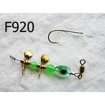 F920 - Fluor Green body - Aqua Prism eye -Two small Brass Propellers blades