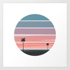 """Palm Sunset Art PrintPalm Sunset Art Print Set the tone of your room from the walls out""""from the ground up"""" is so dated. Mix and match your favorite art prints on a gallery wall showcasing everything that makes your style unique. Art prints available in five sizes from x-small to x-large. Exact sizing may vary […] - Surfing - Ideas of Surfing gift #Surfinggift Cd Wall Art, Cd Art, Acrylic Painting Canvas, Canvas Art, Silouette Art, Parking Spot Painting, Sunrise Logo, Circle Drawing, Bubble Art"""