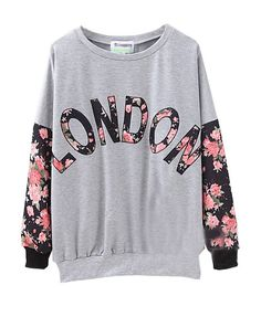 LONDON Printed Floral Splicing Sweatshirt, $30.00, click the picture for the link to buy this adorable sweatshirt! (i'm pretty sure that shipping is free cx)