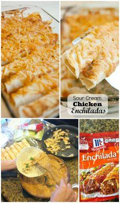 Sour Cream Chicken Enchiladas for a quick and easy family dinner time recipe KristenDuke.com