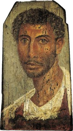 A painted wood Fayum portrait of a man. Roman period, c. 80-140 AD. Sold for $116,000 on 13 June 2000