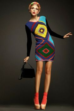 Crochetemoda: Vestido de Crochet Colorido