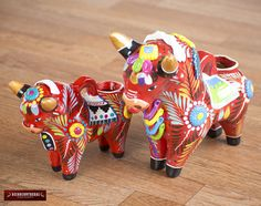 """Items similar to Red Pucara Bull Set 2 """"Mother & Doughter""""- Hand painted ceramic Sculpture - Peruvian pottery - Ceramic bull figurine - Handpainted Pottery on Etsy"""