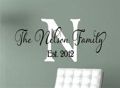 Family Name Wall Decal - Monogram Wall Decal - Family  Vinyl Wall Decal - Wedding Decor. $25.00, via Etsy.