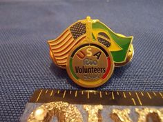 2016 Rio Olympic Volunteer Pin Team USA Duel Flags