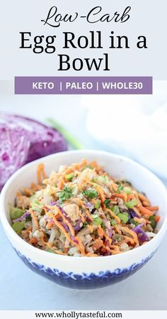 Egg Roll in a Bowl is a super quick and easy weeknight dinner that's a true crowd pleaser. It is made with ground meat of your choice, shredded vegetables and cauliflower rice, and topped with spicy and refreshing mayo-sriracha sauce. It is keto, paleo, whole30 approved, gluten-free and fantastic for meal prep. Easy Healthy Dinners   Keto Dinner   One Pan Dinner Easy Paleo Dinner Recipes, Healthy Chicken Recipes, Easy Healthy Recipes, Asian Recipes, Keto Recipes, Keto Dinner, Easy Weeknight Dinners, Easy Healthy Dinners, Quick Easy Meals