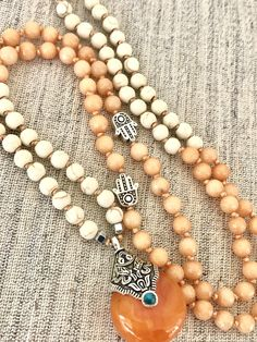 Orange white mala necklace jade howlite mala necklace pendant mala necklace hamsa mala necklace yoga mala meditation necklace 108 beads by Katiaicrafts on Etsy