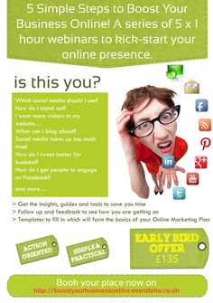 5 Simple Steps to Improve Your Online Presence & Social Media Marketing - from £135 plus vat - click on image to BOOK