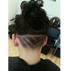 Messy bun shaved head hair design