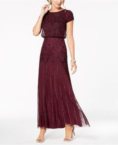 Purple Formal Dresses for Women - Macy's Petite Outfits, Petite Dresses, Nice Dresses, Summer Dresses, Formal Dresses, Evening Gowns With Sleeves, Vogue, Chiffon Gown, Gowns Online