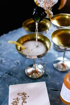 champagne, grapefruit and ginger cocktails