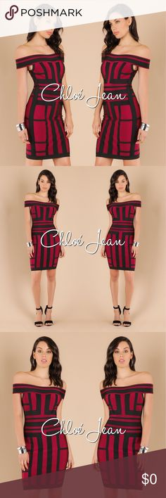 🌸 Off Shoulder Color Blocked Bandage Dress Off Shoulder Color Blocked Bandage Dress ShopChloeJean.com Dresses