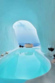 Soak in a private hot tub whilst enjoying Oia's stunning sunsets in this one-bedroom home with panoramic views. One Bedroom House, Plunge Pool, Bath Tubs, Once In A Lifetime, Cool Pools, Pool Houses, Stunning View, Dream Vacations, Lava