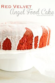 Red Velvet Angel Food Cake topped with a French Vanilla Bean Glaze
