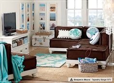 Trendy Furniture Decor Ideas for Teen Living Room by Pbteen, Best of Living Room, Chic Brown Cushy Lounge with Stylish Blue Fur Rug and Cool. Teen Hangout, Hangout Room, Teen Lounge Rooms, Teen Furniture, Furniture Ideas, Teen Decor, Lounge Seating, Lounge Couch, Kids