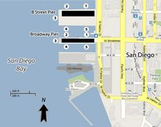 San Diego Cruise Port Map @ http://www.cruisetimetables.com/cruises-from-san-diego-california.html