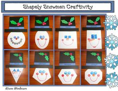 Shapely Snowmen Craftivity:  Use them as giantflashcards, (Hold one up. Children call out what shape it is, along with its attributes, like the number of vertices), use them as a 2Dbulletin boarddisplay, independentmath center, or do as acraftivity, and have students make one of their own.