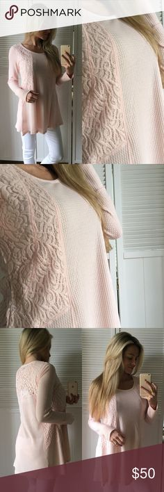 "Pink Bliss Flowy Lace Top So pretty and feminine. Light weight, slight waffle texture, lace inset, long sleeve, and 90% Solid. I am wearing a nude bra and have no issue. Lays and flows nicely, cute casual top or dress it up. Goes with almost all bottoms. Selling in four colors as shown in last photo, each a separate listing.   •Modeling: Small •Fit: 1"" difference between sizes. See Below •Material: 64% Poly• 34% Ray• 2% Span  Please use ""Self Checkout"" if you aren't an Established Customer…"
