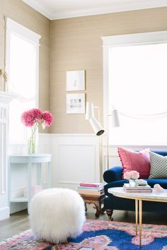 Glamour Nest Interior Design | Navy and pink living room | Caitlin Wilson Kismet navy rug shown in a living room.  #MyShopStyle #ShopStyle #livingroomdesign #navyandpink