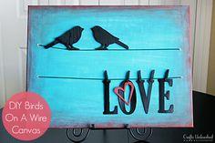 DIY Birds on a Wire Canvas Full step by step photo tutorial! Looks easy!  #diywallart #diyhomedecor