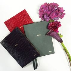 The fashion team are looking forward to the new year thanks to these personalised @smythson diaries #SmythsonStories