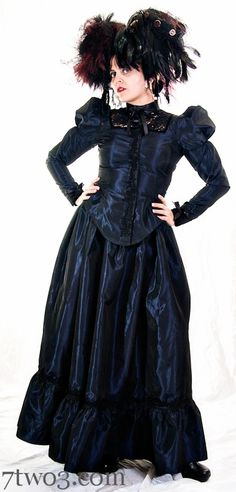 Victorian Steampunk Outfit - Blouse and Skirt Blue Taffeta and Black Lace Handmade -Custom to your Size 2x and up