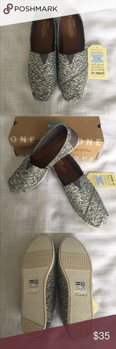 NIB Toms classic silver glitz woven shoes New in box.  Pet and smoke free home Toms Shoes