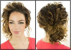 Gather your hair into a loose low bun and sweep curls back from your face for an effortless look.