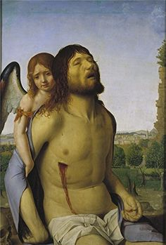 Oil Painting Messina Antonello De Dead Christ Held Up By An Angel 1475 76 20 x 30 inch  51 x 75 cm  on High Definition HD canvas prints gifts for Bath Room Home Office And Powder Room Decoration