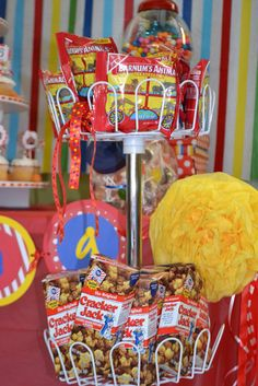 Carnival idea or for any party theme. Could do homemade cracker jacks without… (carnival birthday food ideas) Circus Carnival Party, Kids Carnival, Circus Theme Party, Carnival Food, Carnival Birthday Parties, Circus Birthday, Birthday Fun, Birthday Party Themes, Carnival Party Favors