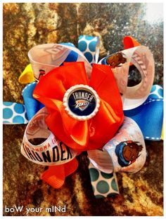 OKC Thunder Over the Top Bow by HappyCaps2014 on Etsy, $13.50