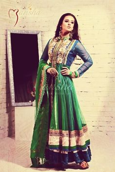 blue and green anarkali