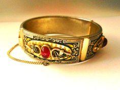 Victorian Bangle Bracelets Black Enamel & Antique by RAKcreations