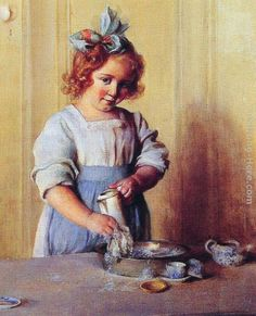 """""""Washing Dishes – Emily and her Tea"""" by Charles Courtney Curran (1861-1942)"""