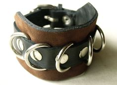 Leather Cuff Bracelet Rustic Chocolate Brown by BatwingsBattleaxes, $49.00
