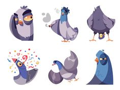 Stickers for Telegram Pigeons part 2 by Dmitry Mooi Cartoon Faces, Cartoon Drawings, Animal Drawings, Character Sketches, Character Illustration, Character Design, Animation Character, Drawing Reference Poses, Art Reference