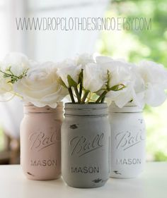 Pink Greige White Mason Jars Painted and Distressed
